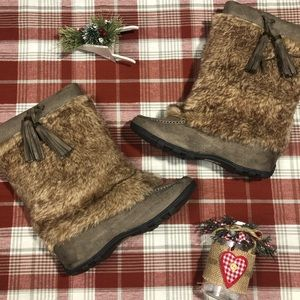 Taupe Fur Snow Boots